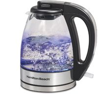 The Hamilton Beach Compact Glass Kettle quickly boils water for tea, pour-over coffee and hot cocoa