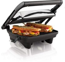 """Hamilton Beach Electric Panini Press Grill With Locking Lid, Opens 180 Degrees For Any Sandwich Thickness, Nonstick 8"""" X 10"""" Grids"""