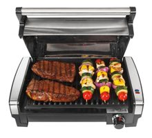 Hamilton Beach 25360 Indoor Searing Grill with Removable Easy-to-Clean Nonstick Plate, Extra-Large Drip Tray, Stainless Steel.