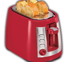 Hamilton Beach 4 Slice Extra Wide Long Slot Stainless Steel Toaster with Keep Warm, Defrost and Bagel Functions, Shade Selector, Toast Boost, Auto-Shutoff and Cancel Button, Red