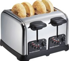 Hamilton Beach Classic Chrome 4 Slice Extra Wide Slot Toaster with Bagel Technology, One-Touch Smart Functions, Shade Selector, Toast Boost, Auto-Shutoff and Cancel Button