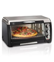 """Designed for easy access; Large, curved glass door improves access to food. Toast, bake & broil settings; also easy fits a large 12"""" pizza 6-slice Toast, bake and broil with the Hamilton"""